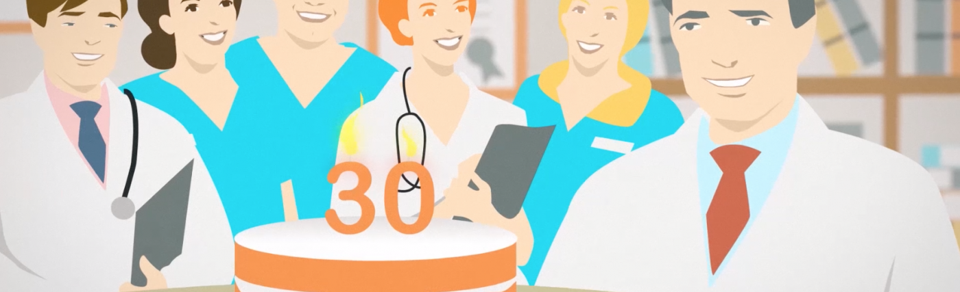 A frame of the 30th anniversary video in which health professionals blow the 30th anniversary