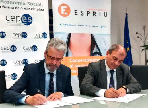 Carlos Zarco, director of  Espriu Foundation and Juan Antonio Pedreño, president of CEPES.